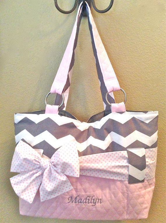Grey & White Chevron With Pink Diaper Bag. by CeeJaze on Etsy, $95.00