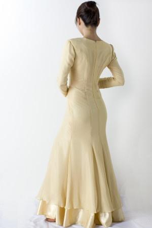 Long Yellow Chiffon Silk Dress