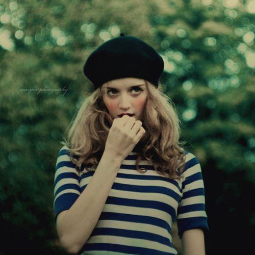 stripes + beret. #ベレー帽