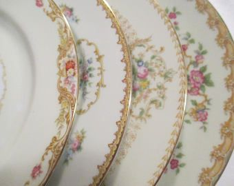 Vintage Mismatched China Dinner Plates for Wedding, Bridal Luncheon,Wedding China, Garden Party, Tea Party, Bridal Gift - Set of 4
