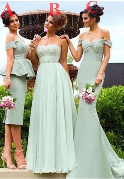 Sage Bridesmaid Dresses,Sweetheart Bridesmaid Dress,Different Style Bridesmaids Dresses,Long Prom Dress,Tea Length Bridesmaid Dress