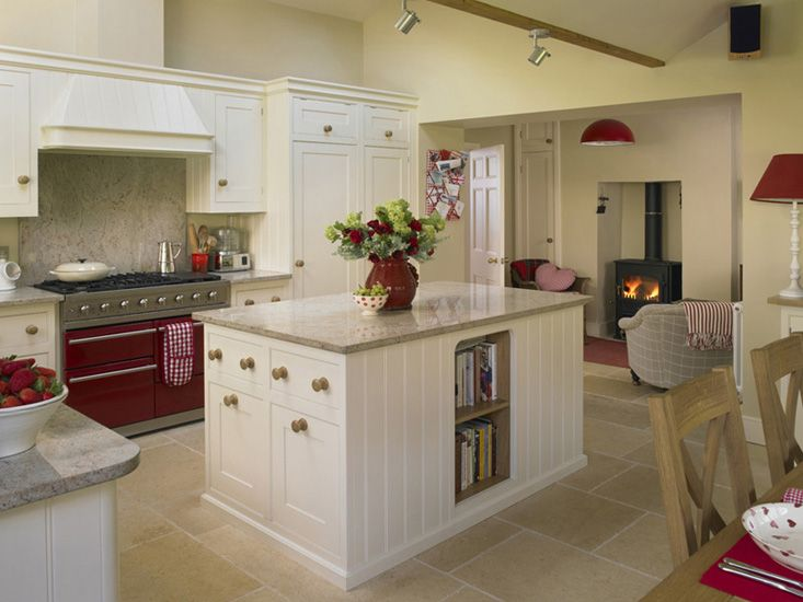 Cream and Red Kitchen