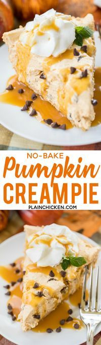 No-Bake Pumpkin Cream Pie - this dessert is to-die-for good!! Only takes a minute to make. Perfect for fall parties and Thanksgiving dinner. Pudding, pumpkin, pumpkin spice, chocolate chips, almonds, cool whip in a graham cracker crust. Top pie with whipp