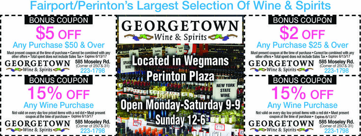Fairport/Perinton in the Rochester NY area has the largest selection of Wine and Spirits at Georgetown Wine and Spirits