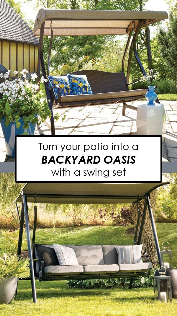 Turn your patio into a backyard oasis with a simple swing set. Dress it up with colourful patio pillows for a cozy and comfortable feel.