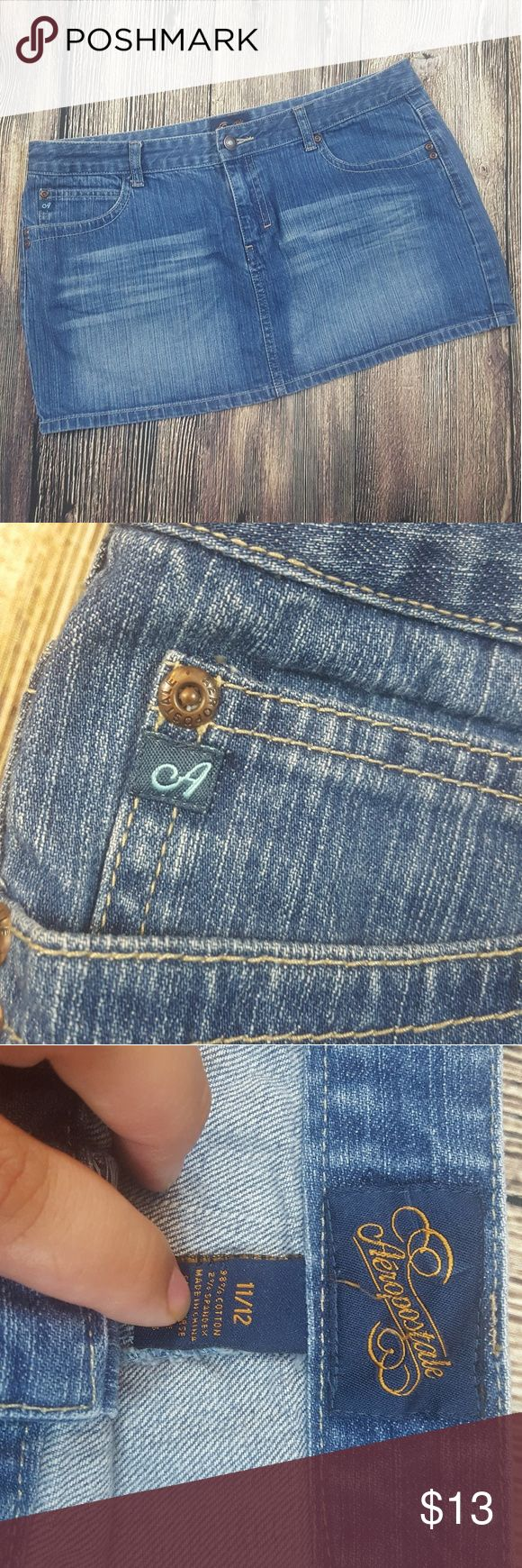 Aeropostale Jean skirt In like New condition . Measurements on pictures Bundle to receive better deal FAST SHIPPING Aeropostale Skirts Mini
