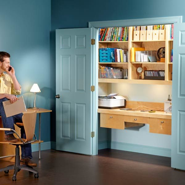 How to Turn a Closet into an Office- Create a compact, efficient office inside a closet. The office has spacious drawers and shelves, bright lighting and a large desktop. Plus you hide all office clutter when you close the closet doors.