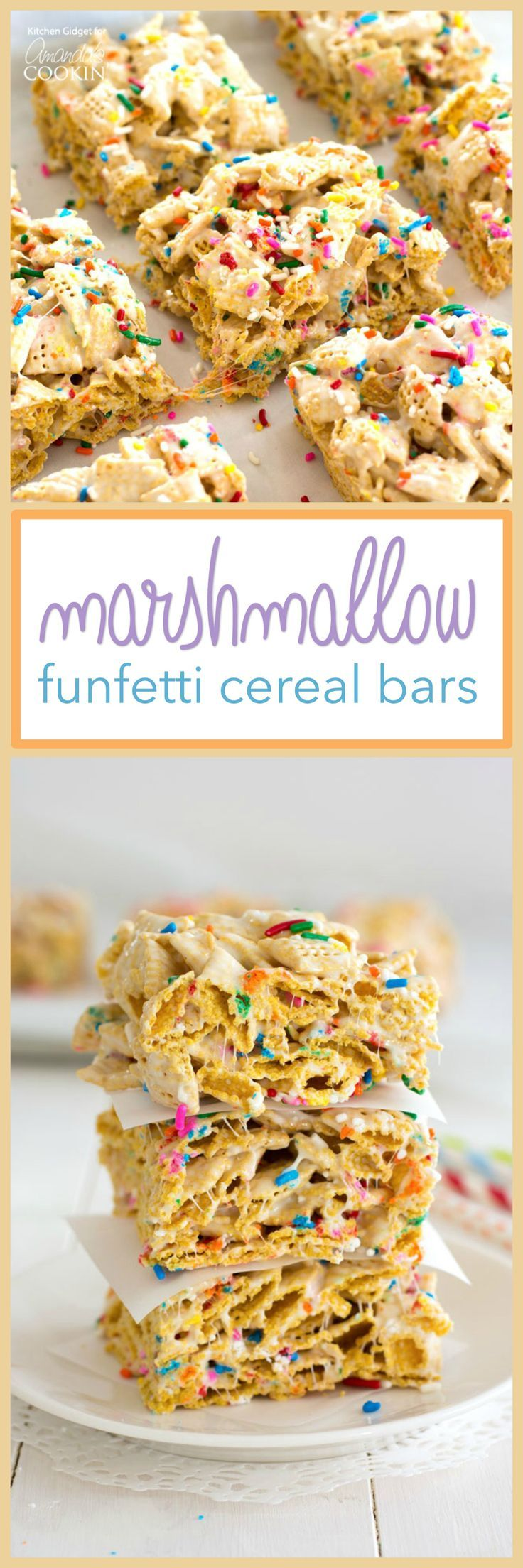 These Funfetti Marshmallow Cereal Bars are deliciously chewy & crunchy! They're the perfect treat for a birthday party, but truly great just about anytime!