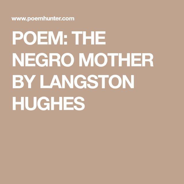 langston hughes negro mother