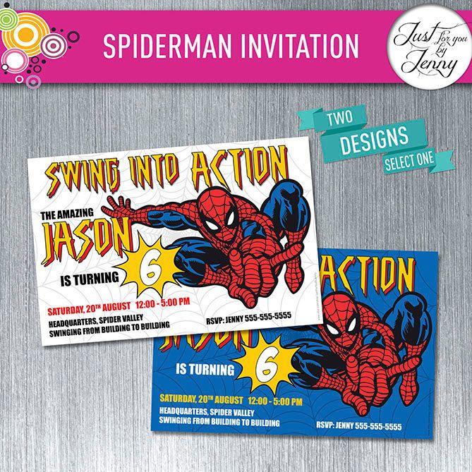 Spider man invitation - Made to Order by JustForYouByJenny on Etsy