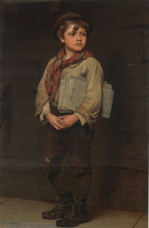 """News Boy"", by English-born American artist - John George Brown (1831-1913),  Oil on canvas."
