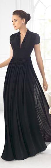 Hermoso vestido negro largo