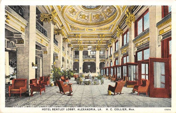 Alexandria Louisiana Hotel Bentley Lobby Interior Antique Postcard K52114 | eBay