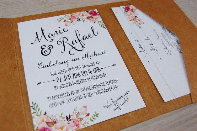 Einladungskarten - POCKETFOLD 30x Einladungskarten Set Hochzeit - ein Designerstück von wildchildwedding bei DaWanda