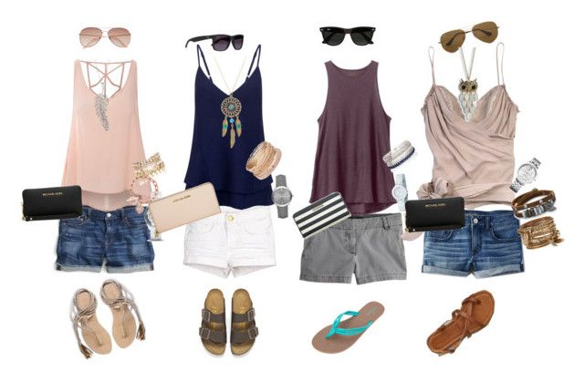 """""""Summer lovin' ☀️"""" by melinda-elizabeth on Polyvore featuring L*Space, Birkenstock, Volcom, American Eagle Outfitters, J.Crew, Glamorous, RVCA, C/MEO COLLECTIVE, John Galliano and H&M"""