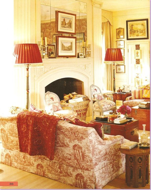 Red toile sitting room sitting rooms studies i love for Beautiful sitting rooms