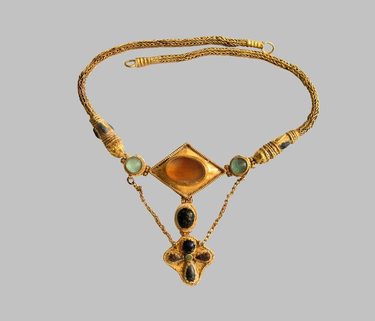 Necklace/Sarmatian, 1st-5th Centuries A.D. Gold, carnelian, glass past: forging, soldering, stamping, polishing