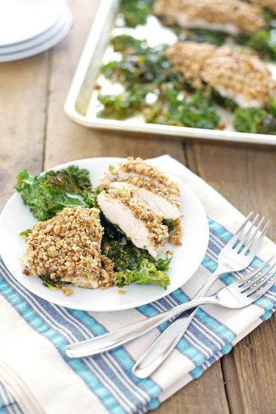 Almond Crusted Chicken with Kale