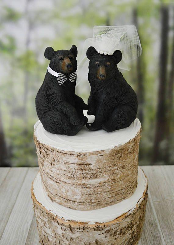 Black bear bride and groom wedding cake topper animal bear