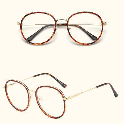 4c5a9f678e86 Hot Womens Men Large Oversized Metal Frame Clear Lens Round Circle Eye  Glasses