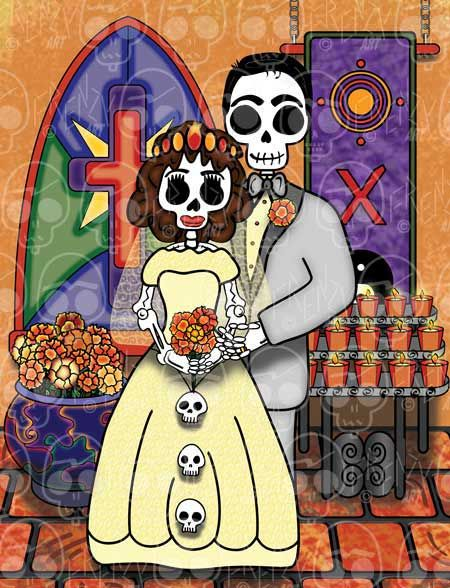 Day of the Dead Art, The Wedding - El Casamiento