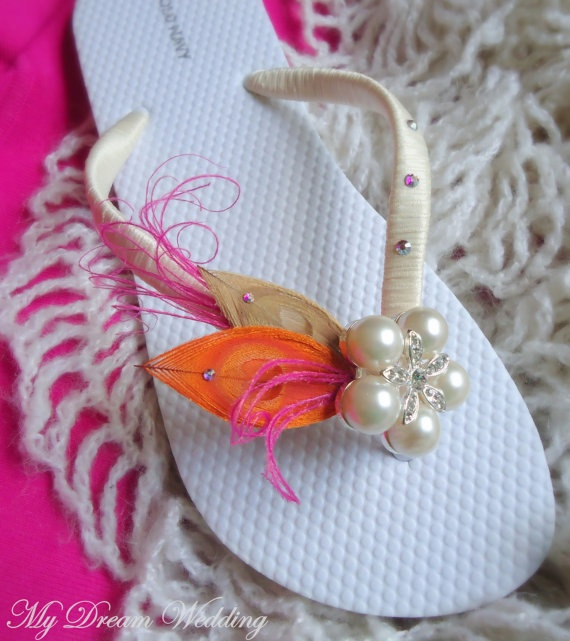DIY Pink and Orange Bride's flip flops