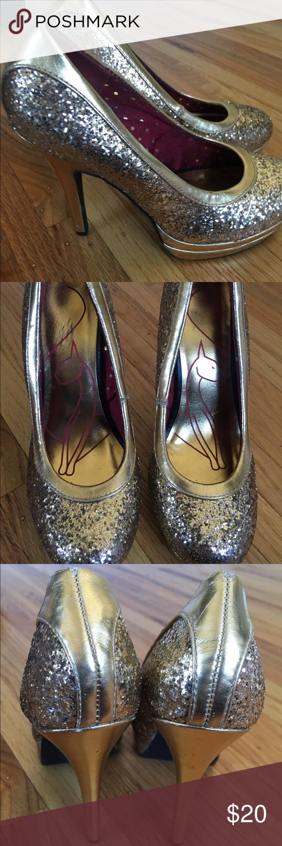 Baby phat gold sparkle heel (5 inch heel ) Great condition perfect for New Year's Eve or Christmas Baby Phat Shoes Heels