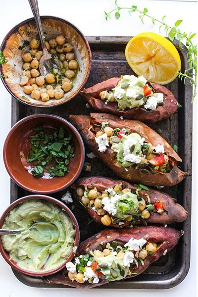Mediterranean Stuffed Sweet Potatoes With Chickpeas