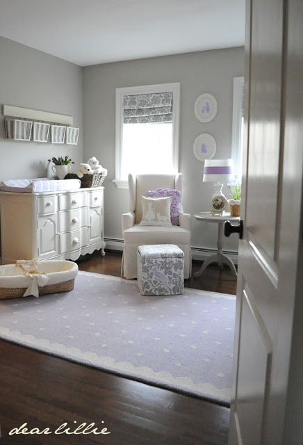 OK, not lavender for grandbaby Evens, but love the way the room is so calm and restful with the use of only three colors (white, gray and lavender).