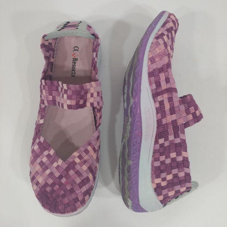 CC Resorts Sammi size 39 purple stretch mary jane shoe ribbon shoe US size 8 #CCResorts #MaryJanes
