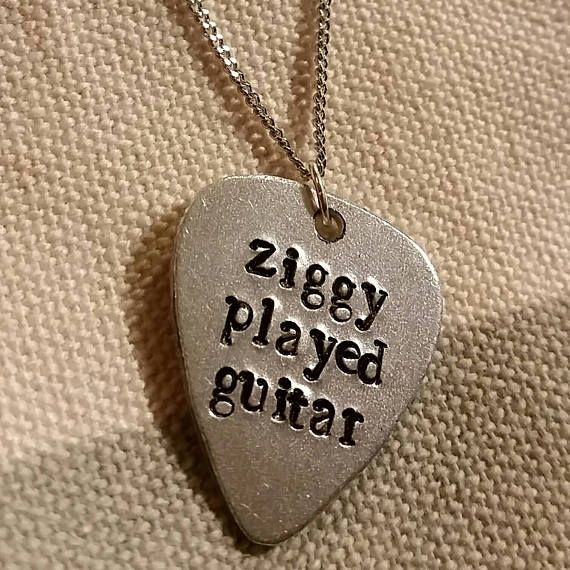 David Bowie  Ziggy Played Guitar small guitar pick necklace
