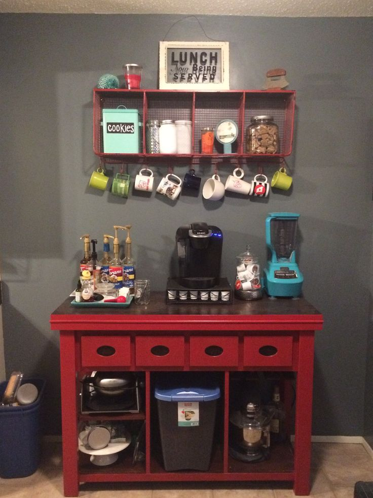 kitchen coffee bar jean anne at home red furniture redo diy with