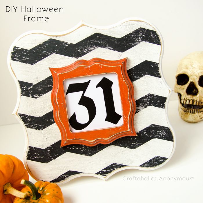 Halloween Chevron picture frame tutorial + a technique for distressing. http://www.craftaholicsanonymous.net/chevron-halloween-frame-tutorial