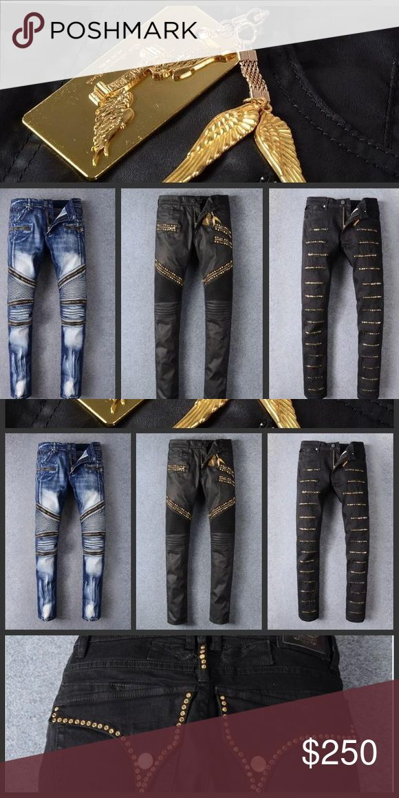 2016 Robin Jeans also available in white and red Senior designer brand 2016 bicycle robin jeans Manual paste crystal golden wings black robin jeans Men's fashion crime zipper pants Robin's Jean Jeans Relaxed