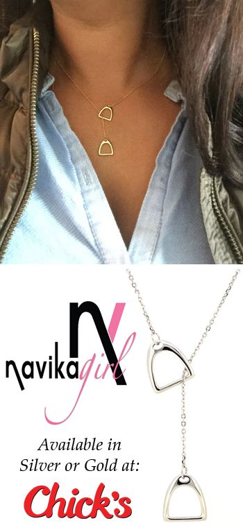 Double Stirrup Sterling Silver Equestrian Necklace | ChickSaddlery.com