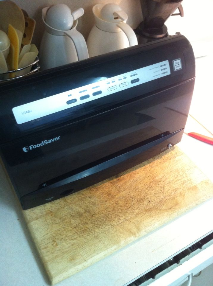 Foodsaver for $8.99 at a Thriftstore (Salvation Army this time.)  Unexpected and very cool find... replaces an older Foodsaver vacuum sealer we've had for years.  Automatic features take a bit of getting used to... but are one of many welcome improvements. Found this after looking for and finding a raincoat to cover a garden hose.
