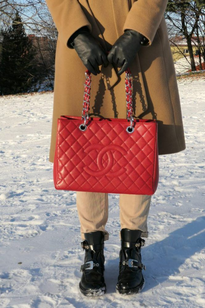1041733b2a1a Red and camel outfit, red Chanel GST tote bag, Ralph Lauren camel coat,  Balenciaga cutout boots