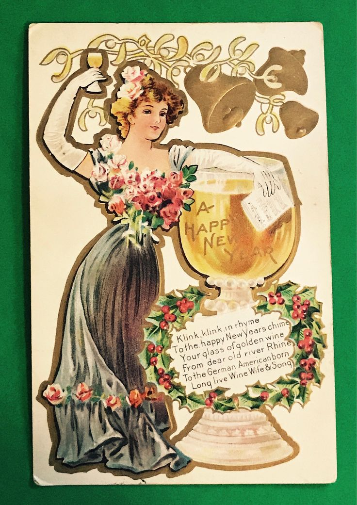 Antique 1900s New Years Postcard, Lovely Lady In Blue