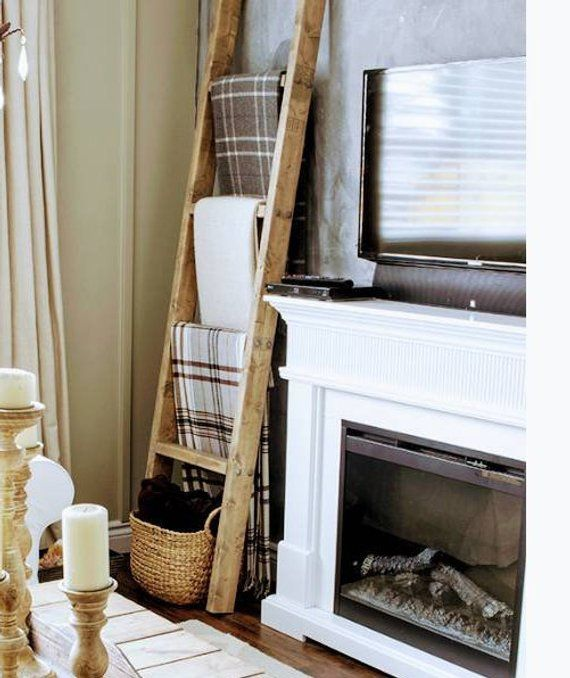 Lovely Farmhouse Style Ladders For Displaying Blankets And Etsy Farmhouse Style House Cottage Decor Blanket Ladder Decor