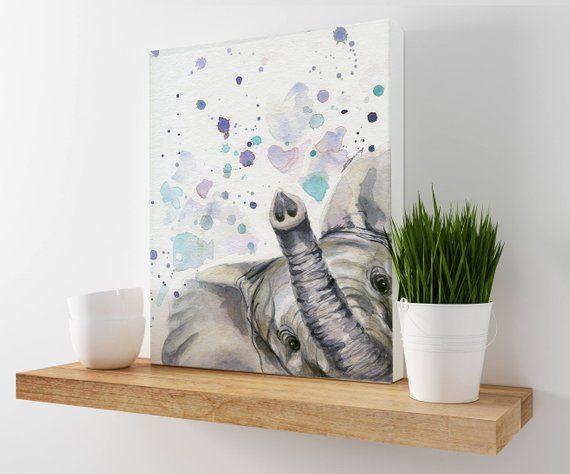 Elephant Canvas Elephant Painting Elephant Watercolor Etsy Elephant Painting Elephant Canvas Watercolor Elephant