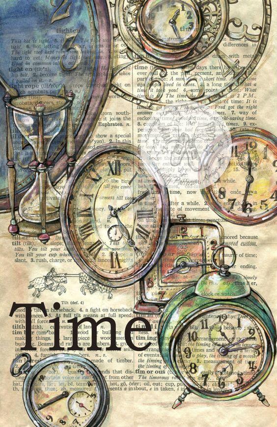 Druck: Alte Uhren bemalen Wörterbuch-Seite