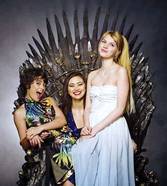 Jessica Henwick, Rosabell Laurenti Sellers, and Nell Tiger Free at the Game of Thrones season 5 premiere (x)