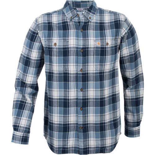 Carhartt Men's Trumbull Plaid Shirt (Navy, Size Large) - Men's Work Apparel, Men's Longsleeve Work Shirts at Academy Sports