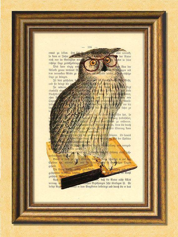 TEACHER OWL  Dictionary art Vintage art book by littlevintagechest, $7.99