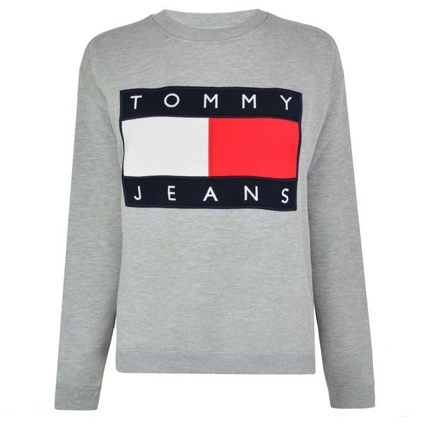 TOMMY JEANS 90s Sweatshirt (2,075 MXN) ❤ liked on Polyvore featuring tops, hoodies, sweatshirts, sweaters, crew neck top, crew top, logo sweatshirts, stitch sweatshirt and tommy hilfiger