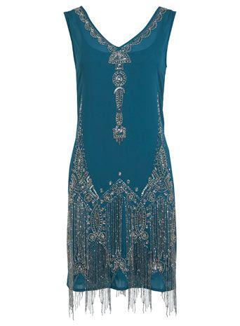 Petrolfarbenes Kleid im 20er-Jahre-Stil