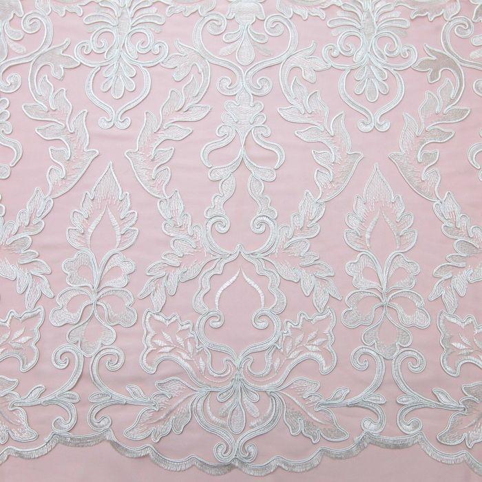Tecido renda tule bordado soutache off white