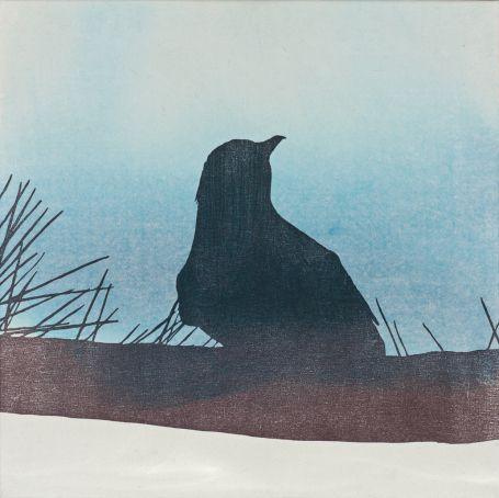 """Twin Peaks"" by Ari Pelkonen. Woodcut and acrylic on canvas."