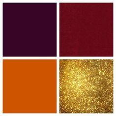 Eggplant, cranberry, burnt orange and gold color scheme. Gold highlights!