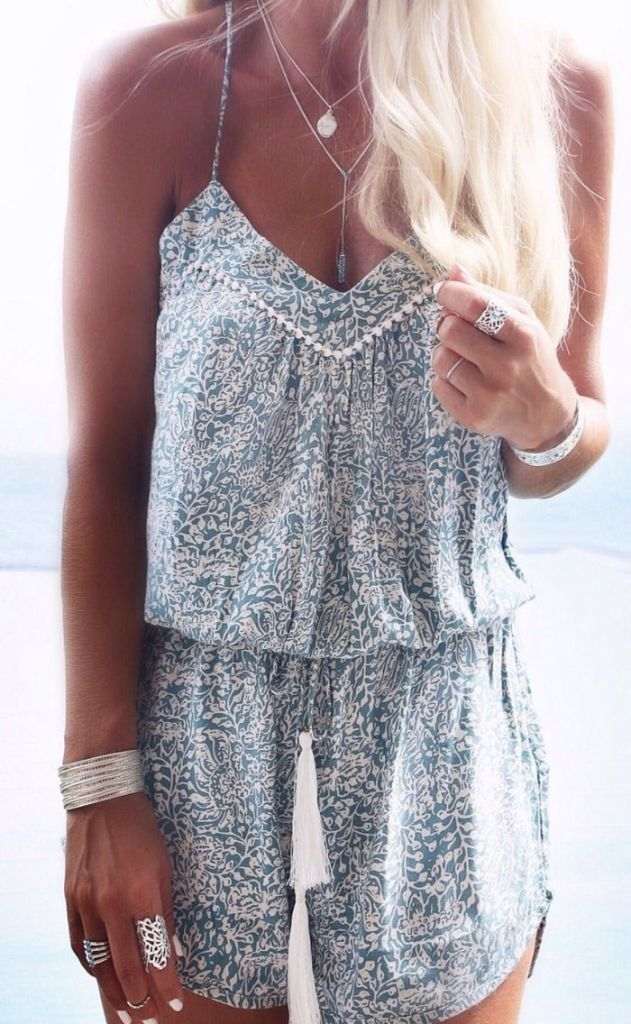 summer style / grain print playsuit